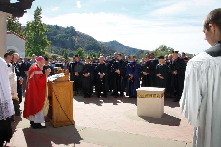 The Most Rev. Samuel J. Aquila, Archbishop of Denver, dedicates St. Gladys Hal at Convocation 2014