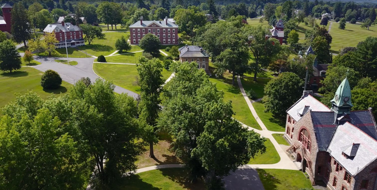 Aerial view of New England campus