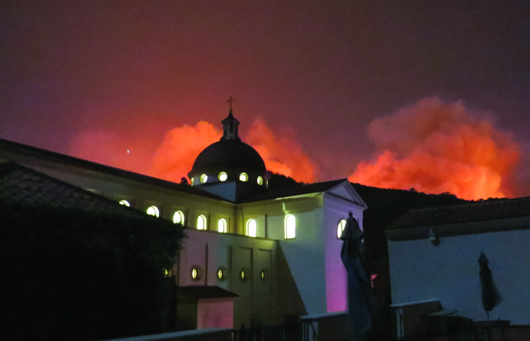 Our Lady of the Most Holy Trinity Chapel during the 2017 Thomas Fire