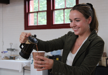 Mary OReilly brews coffee in the Tracy Student Center - 2020