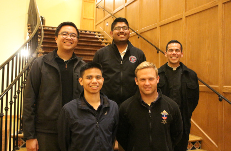 Representatives from the Archdiocese of Los Angeles who visited the California campus for a recent vocations talk, including Jorge Moncada Hernandez ('18 , center) and Paul Collins ('14, bottom right)