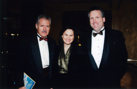 Mr. Trebek at the 2000 Christmas Appreciation Dinner with Anita (Grimm) and College Governor Andrew Zepeda  (both '79)