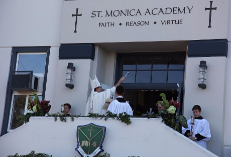 Bishop Brennan blesses St. Monica Academy