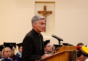 Bishop Thomas Daily gives his Matriculation remarks at Convocation 2018