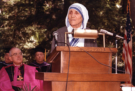 Bl. Mother Teresa presents the 1982 Commencement Address at Thomas Aquinas College.