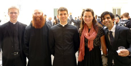 Thomas Aquinas College alumni at the ordination of Deneys Williamson ('16)