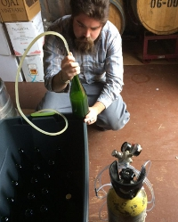 Dominic O'Reilly ('12) bottles a batch of Anna's Cider