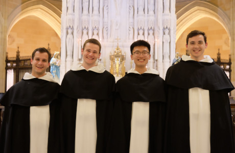 New Dominican novices, including Br. Michael Thomas Cain ('18, second from left) and Br. Kevin Peter Cantu ('15, right)