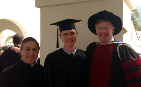 Rev. Samuel Ward, Associate Director of Vocations for the Archdiocese of Los Angeles, joins Edward Seeley ('16) and his father, tutor Dr. Andrew Seeley ('87), at Commencement 2016