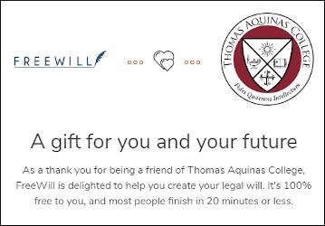 FreeWill and Thomas Aquinas College logos