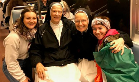 Two High School Summer Program alumnae with Mother M. Assumpta Long, O.P., and  Sr. Joseph Andrew, O.P.