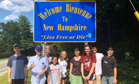 Students at New Hampshire border