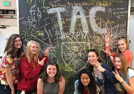 Students at a blackboard in Santa Barbara