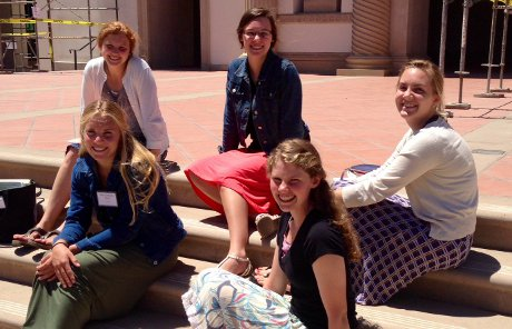 students in front of the Chapel