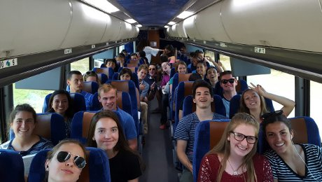 High school students on the bus to Los Angeles