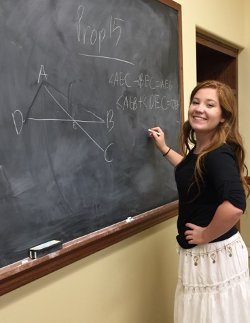 A student demonstrates a Euclidean proposition