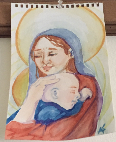 Water color of Madonna and Child
