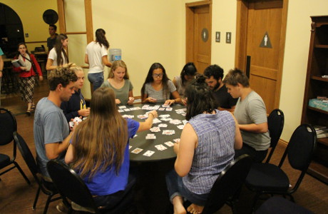 Students play cards