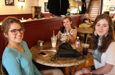 Women enjoy drinks in a Santa Paula coffee shop