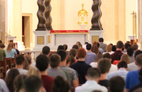 Students pray the Rosary in Our Lady of the Most Holy Trinity Chapel