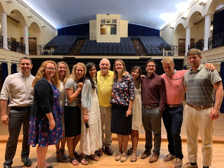 Sir Anthony Hopkins with College officials and Summer Program prefects in St. Cecilia Hall