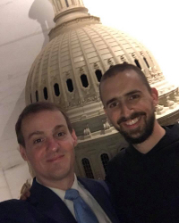 James Layne ('08) gives a tour of the Capitol to his visiting classmate, Br. Mary Evagrius (Dominic '08) Hayden, O.S.B.