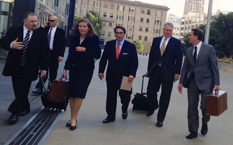 Katie Short ('80), attorney for David Daleiden of the Center for Medical Progress, leads his defense team at federal court in San Francisco.