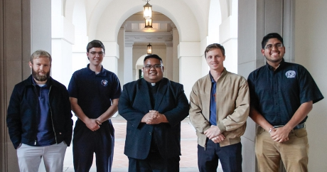 Rev. Mike Perucho, associate vocations director for the Archdiocese of Los Angeles, with the four Thomas Aquinas College alumni who are studying for the priesthood in the Archdiocese: Paul Collins ('14), Edward Seeley ('16), Michael Masteller ('13), and Jorge Moncada Hernandez ('18)