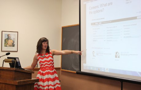 Maggie Tuttle ('10) offers networking tips to students.