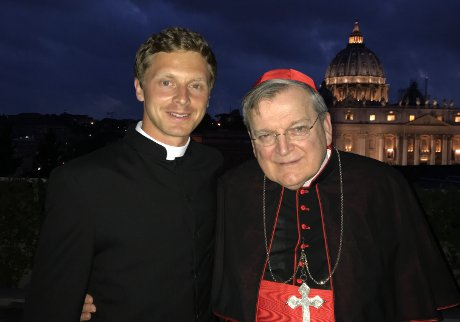 Michael Masteller ('13) with His Eminence Raymond Cardinal Burke, patron of the Sovereign Military Order of Malta