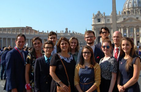 Members of the Morlino family in Rome for the October canonization of St. Katharina Kasper