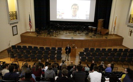 Dean John Goyette and Admissions Counselor Patrick Cross (via video) answer students' questions