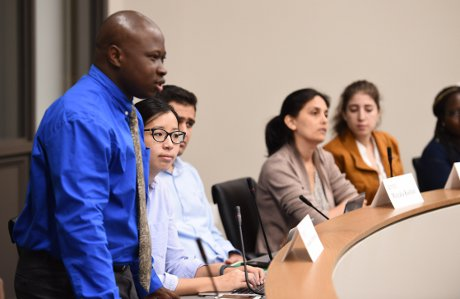Nnadozie Onyekuru ('17) poses a question to Rep. Brendan Boyle, from the University of Notre Dame Keough School of Global Affairs website