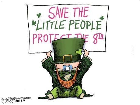 "Leprechaun baby holds sign proclaiming, ""Save Little People - Protect the 8th"""