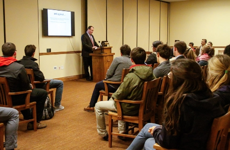 Dr. Samuel Caughron ('96) talks to TAC students