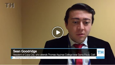 Screen grab from interview with Sean Goodridge ('19) in TH Media