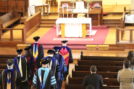 The  faculty of Thomas Aquinas College, New England, process into Our Mother of Perpetual Help Chapel