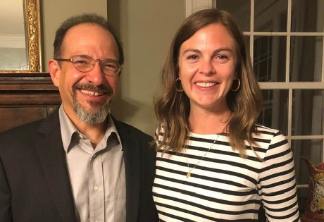 Jane Forsyth ('11) with Dr. Ernest Suarez, chair of the Department of English at The Catholic University of America, at the annual conference of Robert Penn Warren Circle
