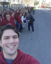 Weston Roseberry ('18) with fellow Thomas Aquinas College students at the 2015 Walk for Life West Coast