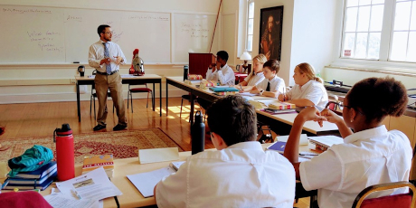 Will Bertain ('08) teaches a class at the St. Jerome Institute