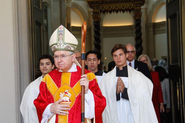 Archbishop Gomez leaves the Chapel