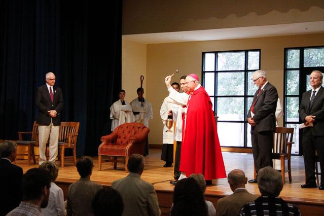 Archbishop Gomez blesses the Fritz B. Burns Auditorium.