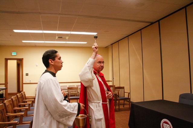 Archbishop Gomez blesses the Dillon Seminar Room.