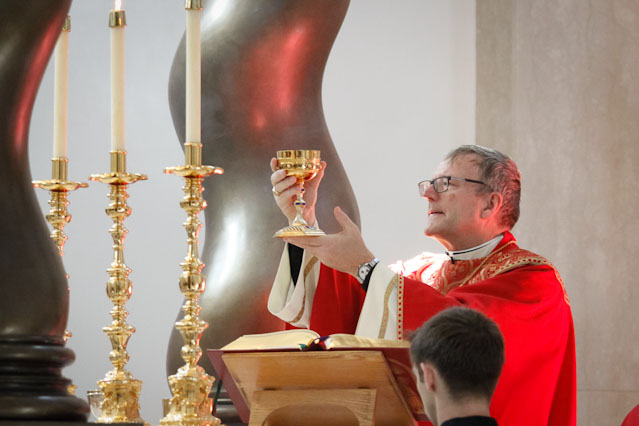 Bishop Barron elevates the chalice during the Consecration.