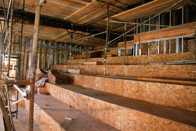 The top portion of the stage seating area