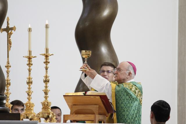 Archbishop Viganò raises the chalice.