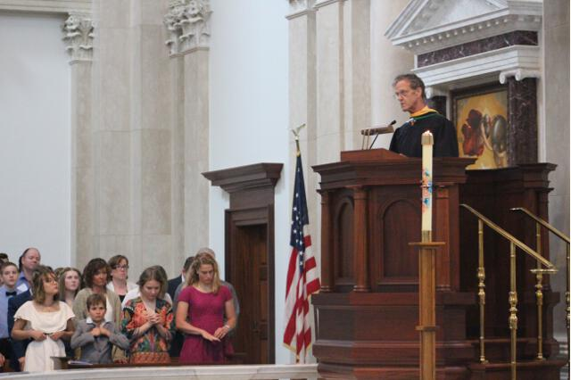 Director of Gift Planning Thomas J. Susanka offers the prayers of the faithful.