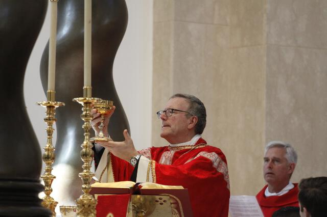Bishop Barron raises the chalice.