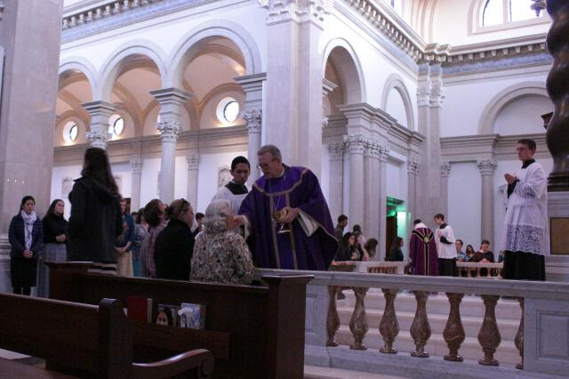 Bishop Barron distributes Holy Communion