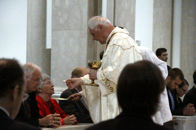Cardinal Müller distributes Holy Communion.
